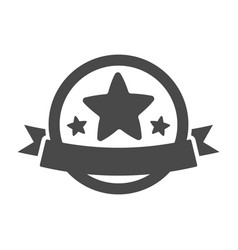 trophy icon with star and ribbon vector image