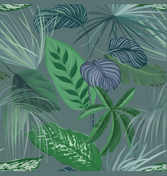 tropical green background with philodendron and vector image
