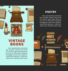 Vintage poetry books posters for bookshop or vector