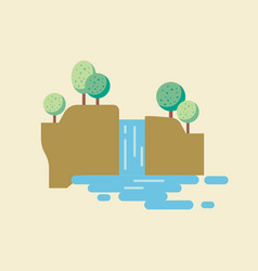waterfall landscape in flat style vector image