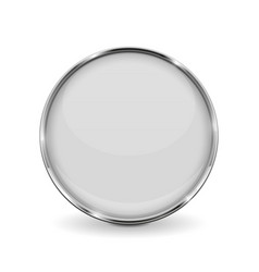 white round glass button with metal frame vector image