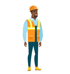 Young african-american happy builder vector
