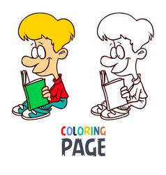 young boy reading book cartoon coloring page vector image
