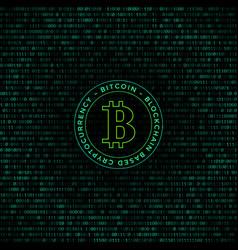 bitcoin symbol binary code background vector image