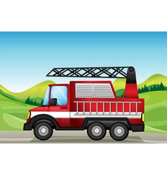 The utility truck at the road near the hills vector image