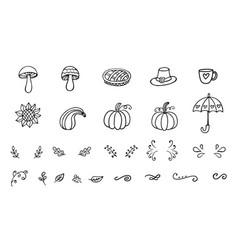autumn doodles collection vector image vector image