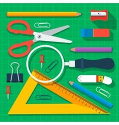 Colorful school supplies flat design vector image