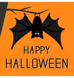 Cute bat hanging on the tree happy halloween card vector