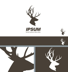 Deer Stag Head silhouette quality label branding vector image vector image