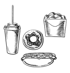 Fast food dessert and drink sketch icons vector image