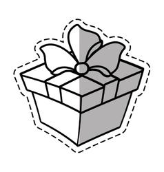 gift box ribbon anniversary party linea shadow vector image vector image