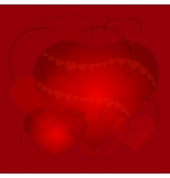 Greeting card with love hearts on red background vector image