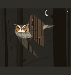 owl hunts in the night forest vector image