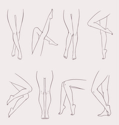 set of various female legs hand drawn outline vector image vector image