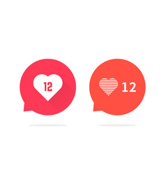 speech bubbles with hearts like counter vector image