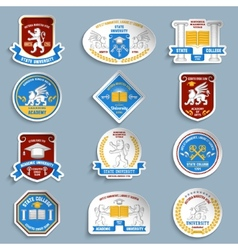 University badges pictograms set vector image