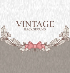 Vintage background with ornaments and a bow vector image vector image