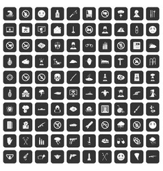 100 tension icons set black vector image vector image
