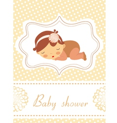Baby shower card with sleeping baby girl vector image