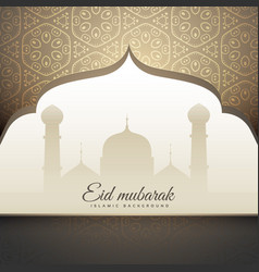 beautiful eid mubrak greeting with mosque shape vector image vector image