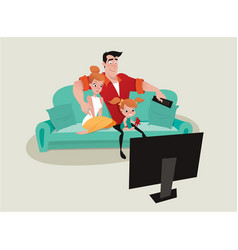 family relaxing on the sofa watching tv vector image