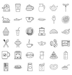 fodder icons set outline style vector image
