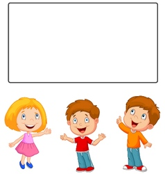 Happy children looking and pointing to blank banne vector image vector image