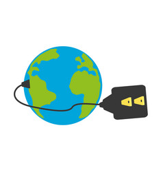 Isolated earth electric plug vector