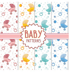 kids patterns with a stroller and toys vector image vector image