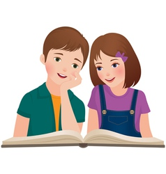 Children read the book vector image vector image