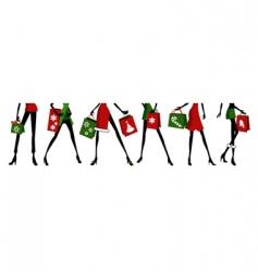 Christmas shopping woman vector image
