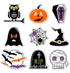 Halloween icons set in colour in label style vector image