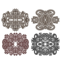 Hand draw four ornamental floral adornment vector