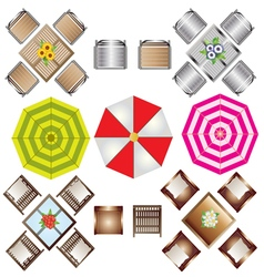 Outdoor furniture top view set 2 for landscape vector image vector image