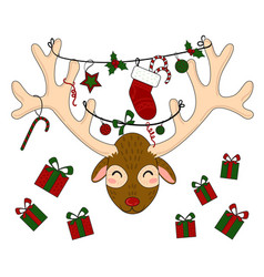 reindeer head with christmas gift boxes vector image