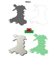 Wales outline map set vector