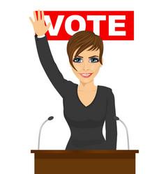woman waved her hand standing behind the tribune vector image vector image