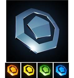 3d heptagonal emblems vector