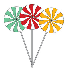 a blue a red and a yellow lollipop on white vector image
