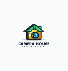 abstract camera house design template vector image