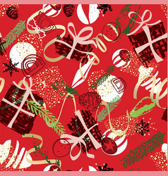 Abstract christmas pattern with party food vector