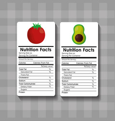 Avocado and tomato nutrition facts food label vector