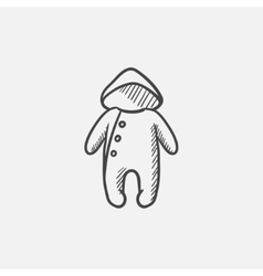 Baby rompers sketch icon vector