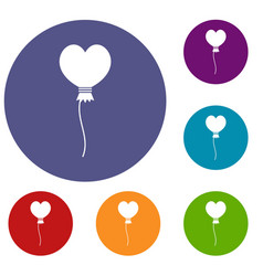 balloon in the shape of heart icons set vector image