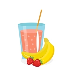 Banana-strawberry juice in a glass fresh and vector