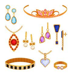 Beautiful fashionable gold jewelry set tiara vector