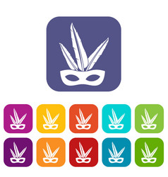 Carnival mask icons set flat vector