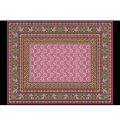 Carpet with bird pattern on the green border vector