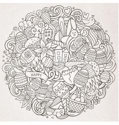 Cartoon hand drawn doodle happy easter vector