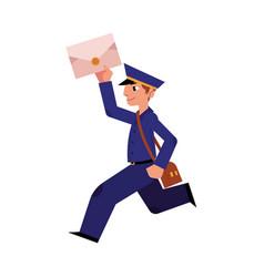 Cartoon postman mailman character running vector